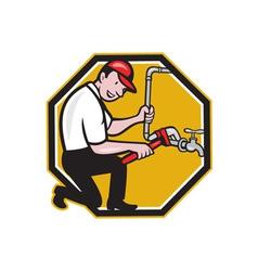 Plumber Repair Faucet Tap Cartoon vector