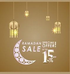 Ramadan sale up to 15 off special offer template vector