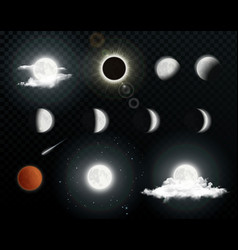 realistic moon phases with clouds vector image