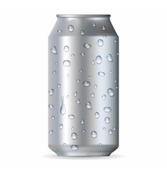 Realistic silver aluminum can with drops vector