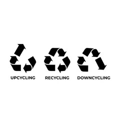 Recycle upcycle downcycle icon vector
