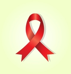 Red awareness ribbon on yellow glow background vector