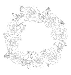 rose flower wreath outline vector image