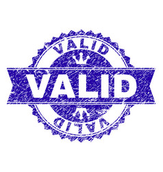 Scratched textured valid stamp seal with ribbon vector