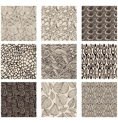 Set of abstract seamless patterns black and white vector