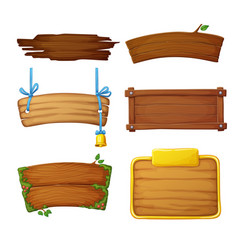 set wooden banners with decorative elements vector image