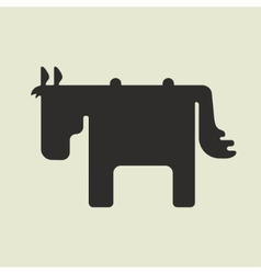 Silhouette of square shape cute horse standing vector image