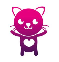 Silhouette smile cat cute feline animal vector