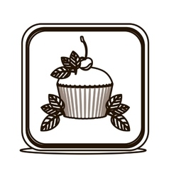 Silhouette square button with cupcake and leaves vector