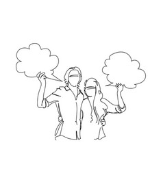 sketch couple embracing hold cloud copy space chat vector image