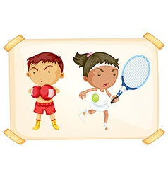 Sport boy and girl vector image