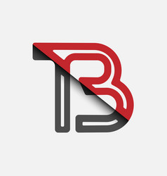 Stylized lowercase letters t and b in red vector