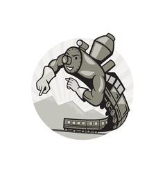 super steam train locomotive man vector image