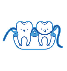 teeth cartoon and dental floss between them and vector image