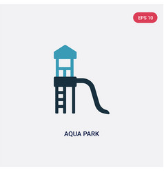 Two color aqua park icon from summer concept vector