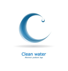 Water logo stylized letter c with a drop vector