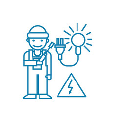 Working as an electrician linear icon concept vector