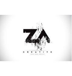 za z a grunge brush letter logo design in black vector image