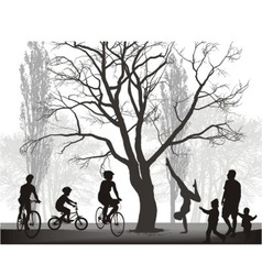 Families spend a weekend in the countryside vector image