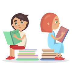 girl and boy with open textbook sit on books vector image vector image