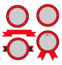 Red badge and label set with ribbon and stars vector image vector image