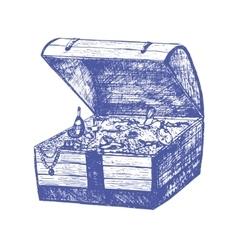 Treasure Chest Hand Draw Sketch vector image