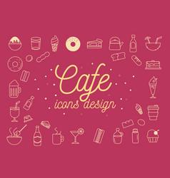 cafe icons design set vector image