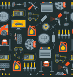 cartoon car service background pattern on a black vector image