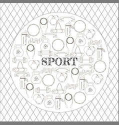 circular concept of sport equipment background vector image vector image