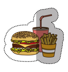 color hamburger soda and fries french icon vector image vector image