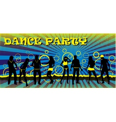 Dance party ticket blue vector image vector image