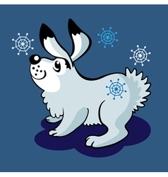 hare and snowflakes vector image vector image