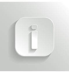 Info icon - white app button vector image vector image