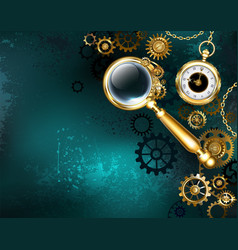 magnifier in steampunk style vector image vector image