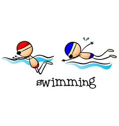 Two boys swimming vector image