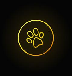 dog paw print yellow icon vector image