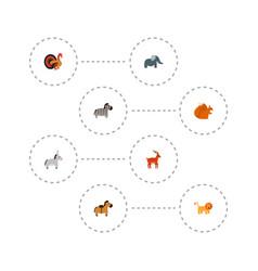 set of animal icons flat style symbols with turkey vector image
