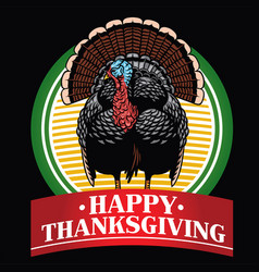 Turkey badge design with happy thanksgiving text vector