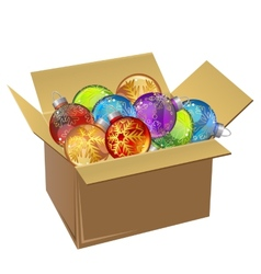 Cardboard box full of Christmas balls isolated vector image