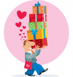 gift box and love vector image vector image