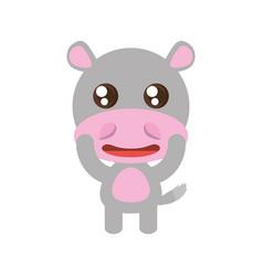 Kawaii hippo animal toy vector