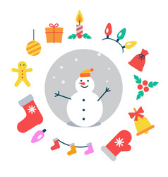 snowman and icons around it vector image vector image