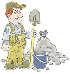 Worker with a spade and a bucket vector