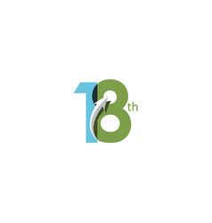 18 year anniversary template design vector