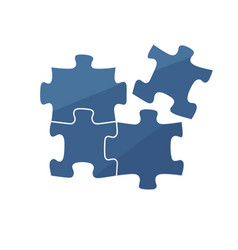 4 dark blue puzzle pieces 2 x vector image