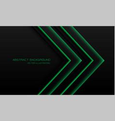 Abstract green light neon arrow direction on black vector