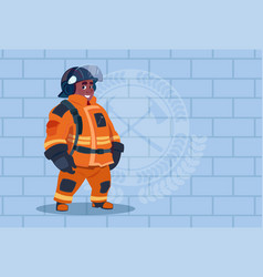 african american fireman wearing uniform and vector image