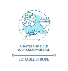 Analyse and build customer base blue concept icon vector
