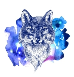 Animal on watercolor space vector