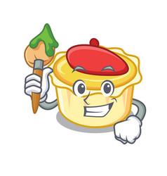 Artist egg tart character cartoon vector